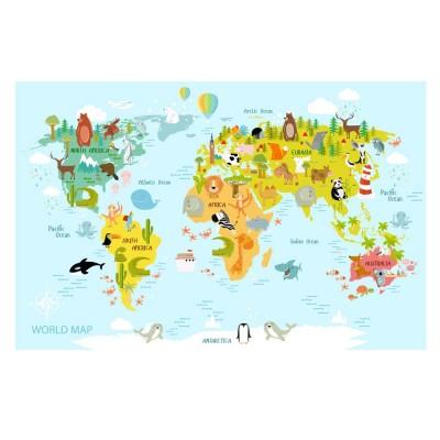 Bebek Çocuk Odası Hayvanlı Açık Mavi Zeminli Harita Duvar Kağıdı